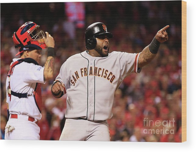 Game Two Wood Print featuring the photograph Pablo Sandoval, Yadier Molina, and Hunter Pence by Jamie Squire