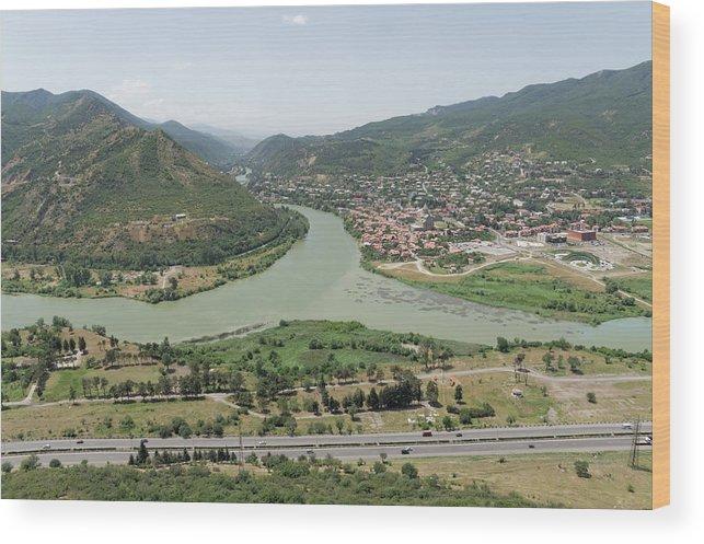 Scenics Wood Print featuring the photograph Panoramic view of Mtskheta, Mtkvari and Aragvi, Georgia by Vyacheslav Argenberg