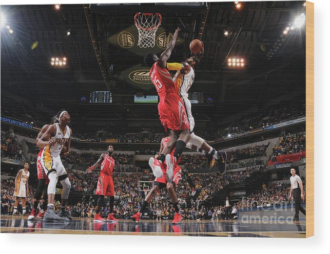 Nba Pro Basketball Wood Print featuring the photograph Paul George and Clint Capela by Ron Hoskins