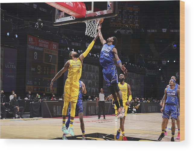 Atlanta Wood Print featuring the photograph Paul George and Kyrie Irving by Nathaniel S. Butler