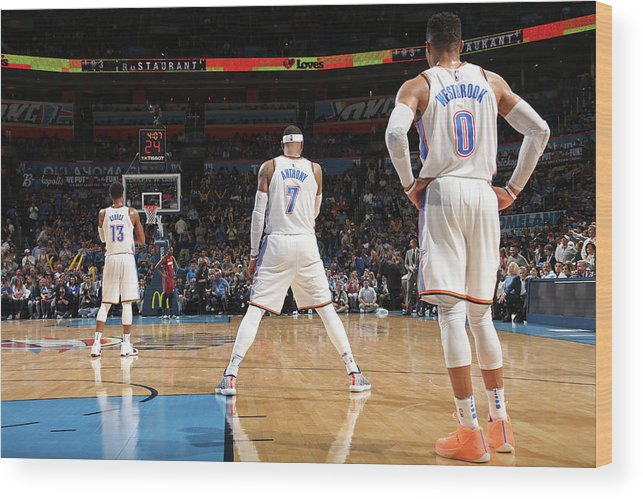 Nba Wood Print featuring the photograph Paul George, Carmelo Anthony, and Russell Westbrook by Layne Murdoch