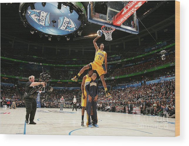 Nba Pro Basketball Wood Print featuring the photograph Paul George, Dahntay Jones, and Roy Hibbert by Nathaniel S. Butler