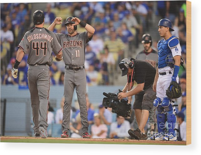 Game Two Wood Print featuring the photograph Paul Goldschmidt and Austin Barnes by Harry How