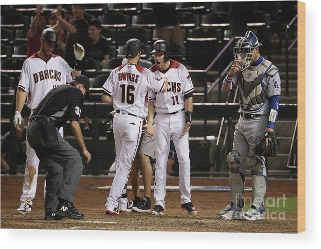 Ninth Inning Wood Print featuring the photograph Paul Goldschmidt and Chris Owings by Christian Petersen