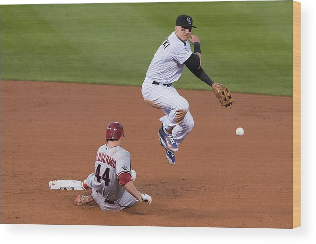 Double Play Wood Print featuring the photograph Paul Goldschmidt And Troy Tulowitzki by Dustin Bradford