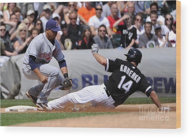 American League Baseball Wood Print featuring the photograph Paul Konerko and Jhonny Peralta by Ron Vesely