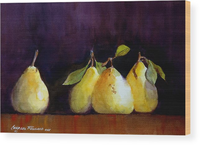 Still Life Wood Print featuring the painting Pears by Charles Rowland