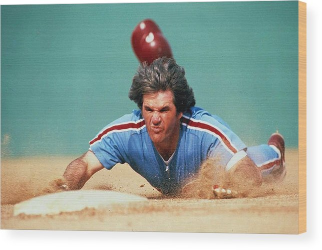 Pete Rose Wood Print featuring the photograph Pete Rose by Ronald C. Modra/sports Imagery