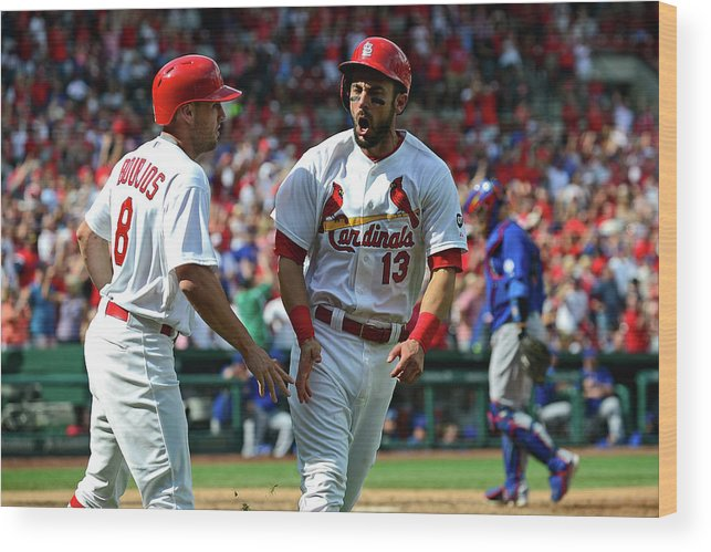 St. Louis Cardinals Wood Print featuring the photograph Peter Bourjos and Matt Carpenter by Jeff Curry