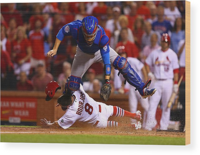 St. Louis Cardinals Wood Print featuring the photograph Peter Bourjos and Miguel Montero by Dilip Vishwanat