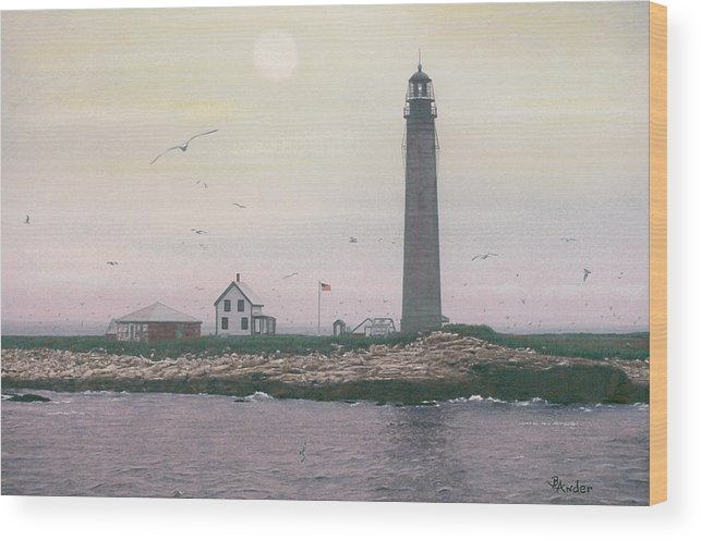 Lighthouse Wood Print featuring the drawing Petit Manan Lighthouse by Brent Ander