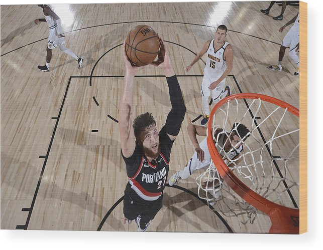 Jusuf Nurkić Wood Print featuring the photograph Portland Trail Blazers v Denver Nuggets by David Dow