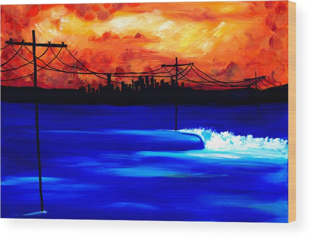 Power Trip Was Created To Mix Urban And Aquatic Scenery. I Was Inspired To Put Power Lines In For Showing Our Future State Of Global Warming. Surf Art Waves. Wood Print featuring the painting Power Trip - surf art by Nathan Paul Gibbs