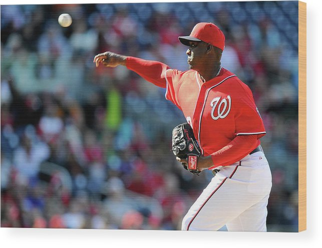 Ninth Inning Wood Print featuring the photograph Rafael Soriano by Greg Fiume