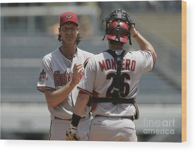 People Wood Print featuring the photograph Randy Johnson and Miguel Montero by John Grieshop