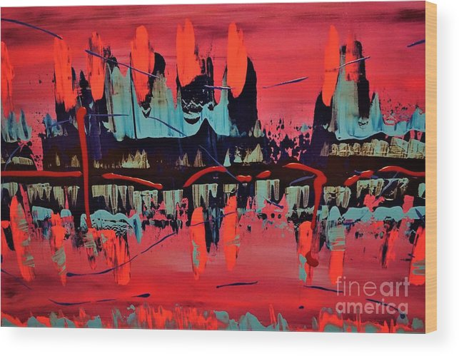 Red Wood Print featuring the painting RED by Jimmy Clark