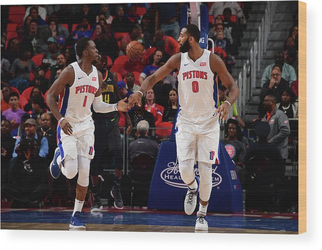 Nba Pro Basketball Wood Print featuring the photograph Reggie Jackson and Andre Drummond by Chris Schwegler