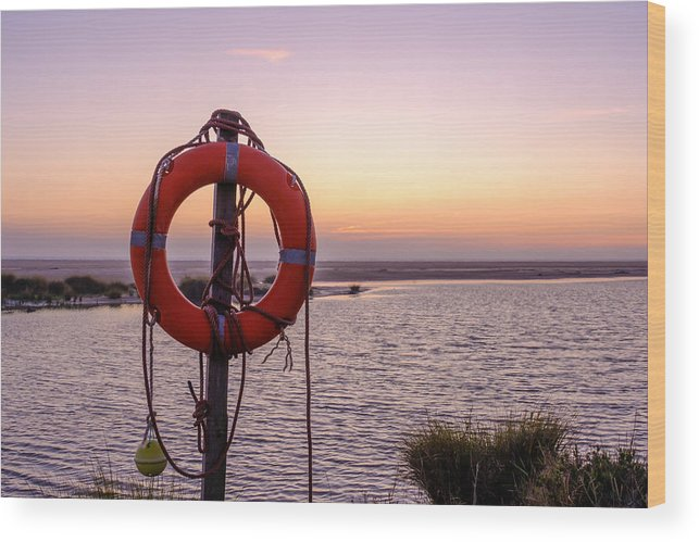 Buoy Wood Print featuring the photograph Rescue bouy on the beach of Los Lanches Tarifa by Finn Bjurvoll Hansen