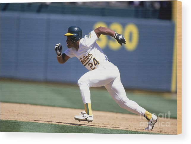 American League Baseball Wood Print featuring the photograph Rickey Henderson by Jeff Carlick
