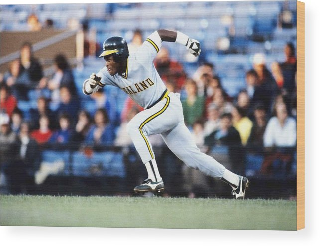 1980-1989 Wood Print featuring the photograph Rickey Henderson by Ronald C. Modra/sports Imagery