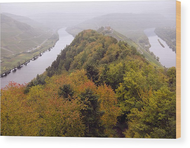 Outdoors Wood Print featuring the photograph River Moselle in Autumn by Bernd Schunack