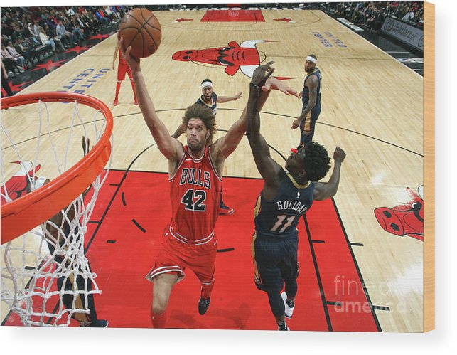 Nba Pro Basketball Wood Print featuring the photograph Robin Lopez by Gary Dineen