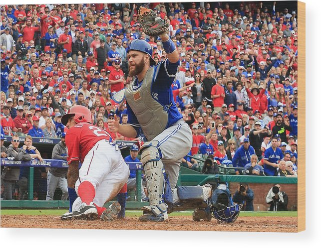 Game Two Wood Print featuring the photograph Russell Martin and Ian Desmond by Scott Halleran