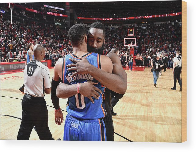 Nba Pro Basketball Wood Print featuring the photograph Russell Westbrook and James Harden by Bill Baptist