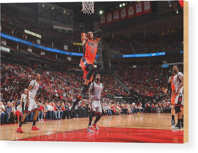 Nba Pro Basketball Wood Print featuring the photograph Russell Westbrook and James Harden by Jesse D. Garrabrant