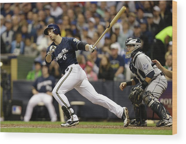 Scoring Wood Print featuring the photograph Ryan Braun and Carlos Gomez by Mike Mcginnis