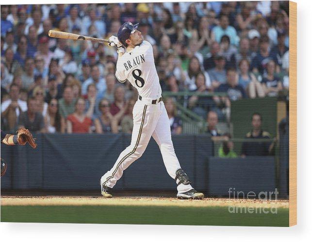 American League Baseball Wood Print featuring the photograph Ryan Braun by Mlb Photos