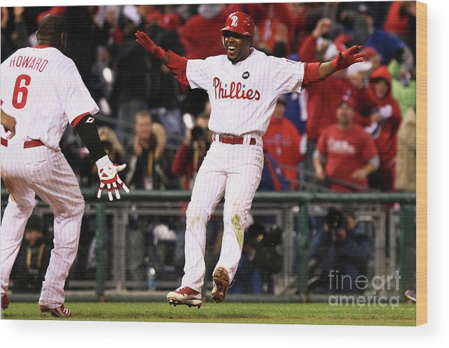 Playoffs Wood Print featuring the photograph Ryan Howard and Jimmy Rollins by Nick Laham