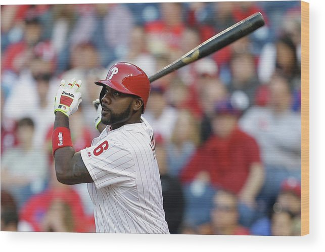 Citizens Bank Park Wood Print featuring the photograph Ryan Howard by Chris Gardner