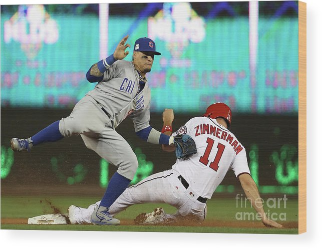Game Two Wood Print featuring the photograph Ryan Zimmerman and Javier Baez by Win Mcnamee