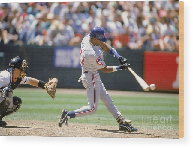 Candlestick Park Wood Print featuring the photograph Sammy Sosa by Jeff Carlick