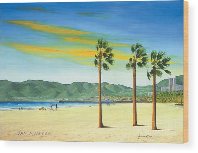 Santa Monica Wood Print featuring the painting Santa Monica by Jerome Stumphauzer