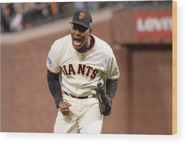 Playoffs Wood Print featuring the photograph Santiago Casilla by Harry How
