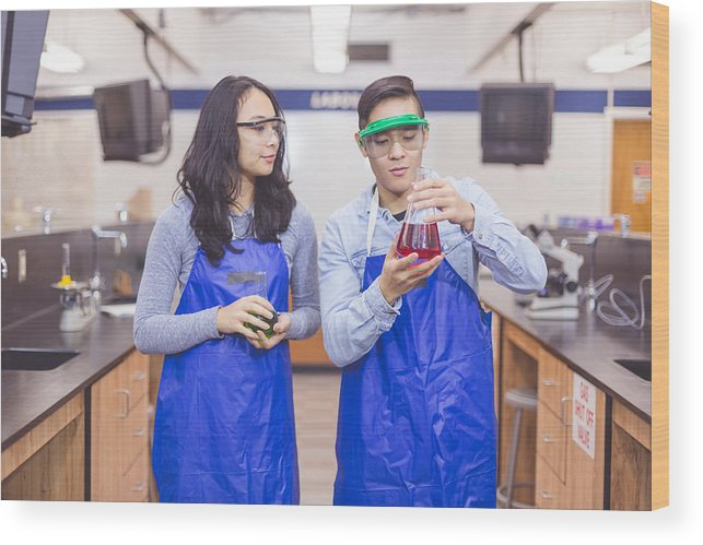 Expertise Wood Print featuring the photograph Science lab partners by FatCamera
