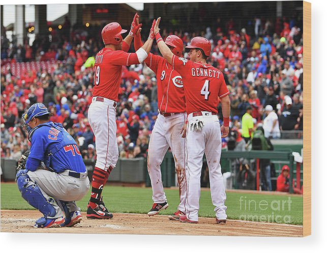 Great American Ball Park Wood Print featuring the photograph Scooter Gennett and Joey Votto by Jamie Sabau