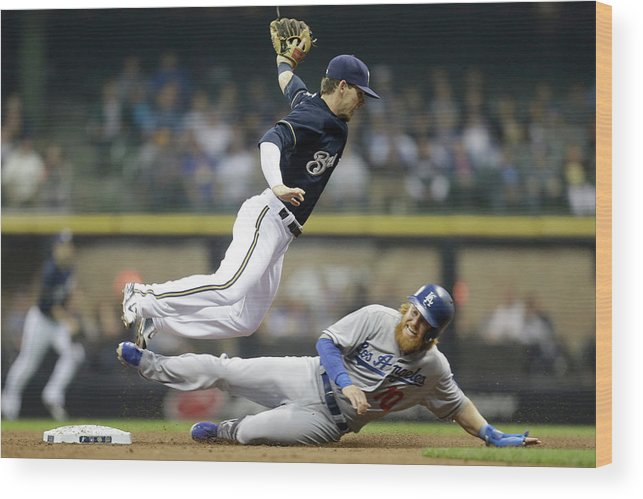 Double Play Wood Print featuring the photograph Scooter Gennett and Justin Turner by Mike Mcginnis