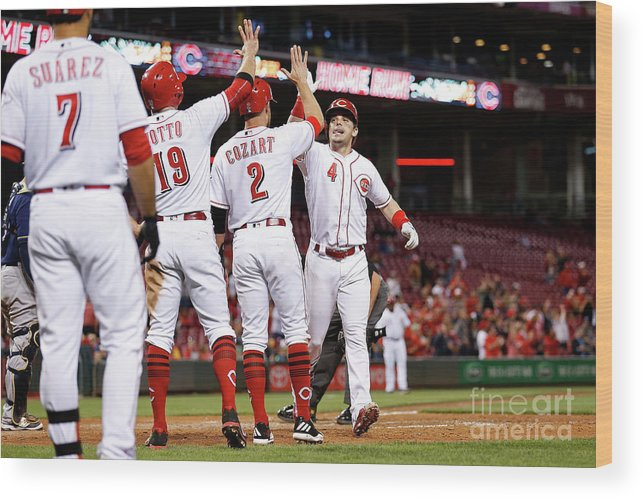 Great American Ball Park Wood Print featuring the photograph Scooter Gennett, Zack Cozart, and Joey Votto by Kirk Irwin