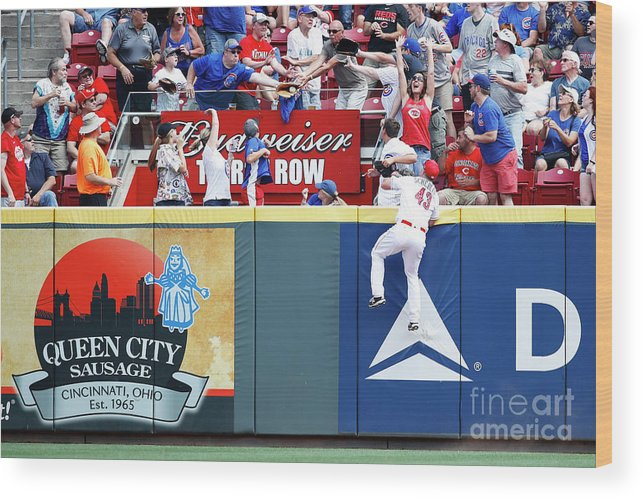 Great American Ball Park Wood Print featuring the photograph Scott Schebler And Jon Jay by Joe Robbins