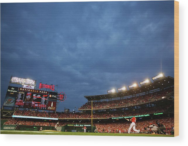 National League Baseball Wood Print featuring the photograph Sergio Romo and Jayson Werth by Al Bello