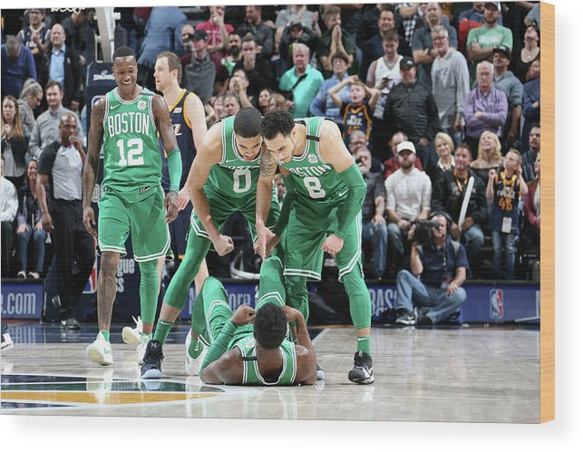 Nba Pro Basketball Wood Print featuring the photograph Shane Larkin, Jaylen Brown, and Jayson Tatum by Melissa Majchrzak