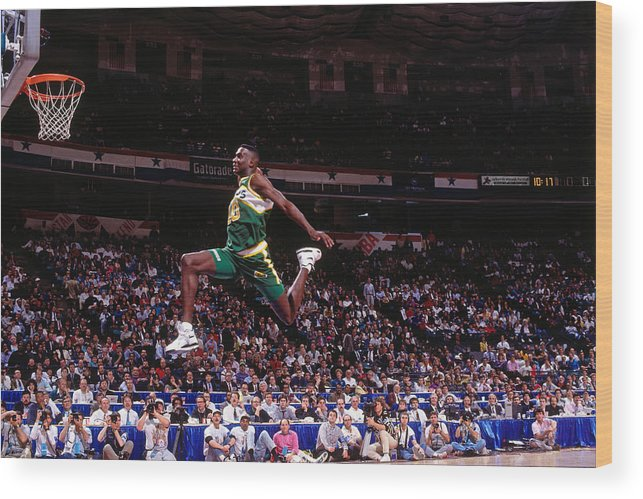 Nba Pro Basketball Wood Print featuring the photograph Shawn Kemp by Nathaniel S. Butler