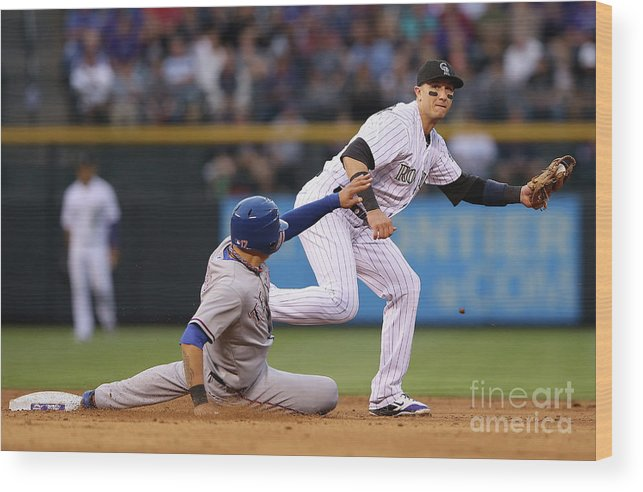 American League Baseball Wood Print featuring the photograph Shin-soo Choo and Troy Tulowitzki by Doug Pensinger