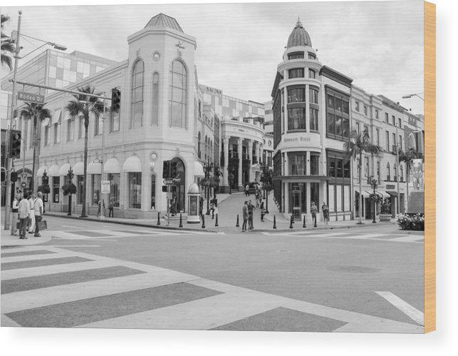 People Wood Print featuring the photograph Shopping district in Beverly Hills by Lena Wagner