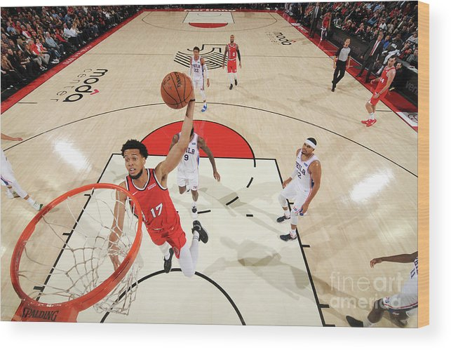 Nba Pro Basketball Wood Print featuring the photograph Skal Labissiere by Cameron Browne