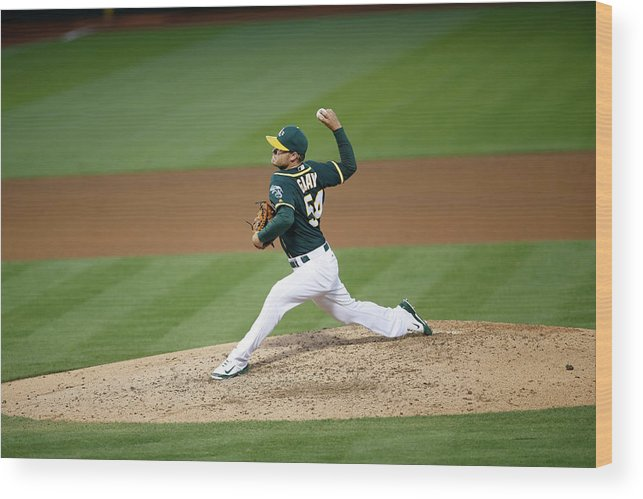 Sonny Gray Wood Print featuring the photograph Sonny Gray by Michael Zagaris