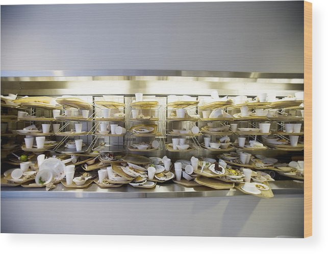 Cafeteria Wood Print featuring the photograph Stack of dirty cafeteria trays by Cade Martin